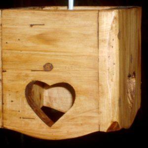 Lustre abat jour artisanal en bois déco chalet montagne