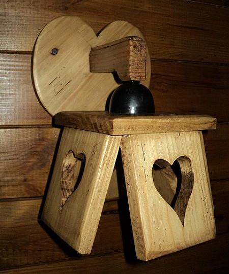 Applique artisanale en bois déco chalet wooden wall lamp