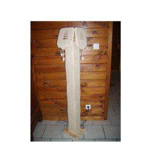 Lampe de chevet artisanal en bois déco chalet montagne