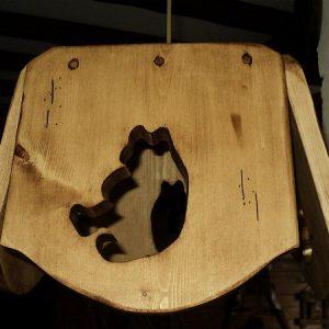 Lustre luminaire abat jour artisanal en bois déco chalet montagne