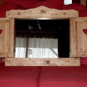 Volet miroir artisanal en bois déco chalet montagne