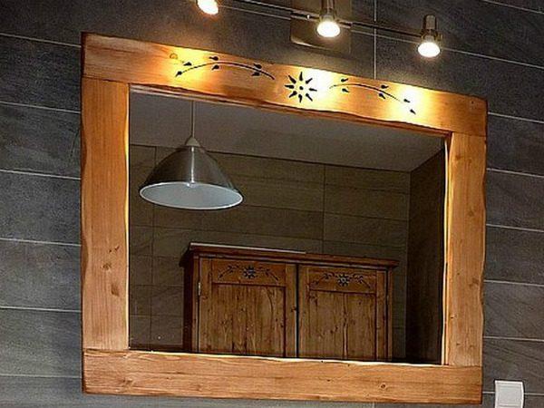 Miroir savoyard artisanal en bois déco chalet montagne