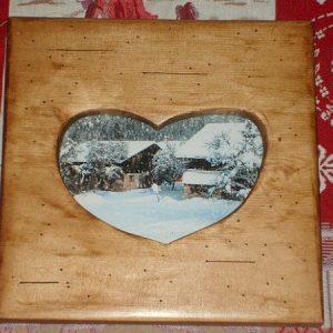 Cadre photo artisanal en bois style chalet