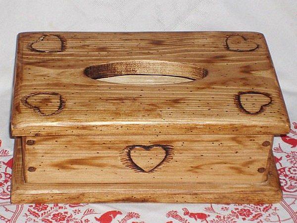 Boîte à mouchoirs artisanale en bois déco chalet montagne