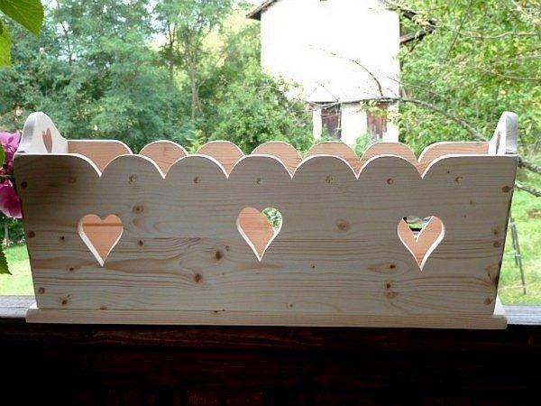 Balconnière Jardinière artisanale en bois déco chalet montagne