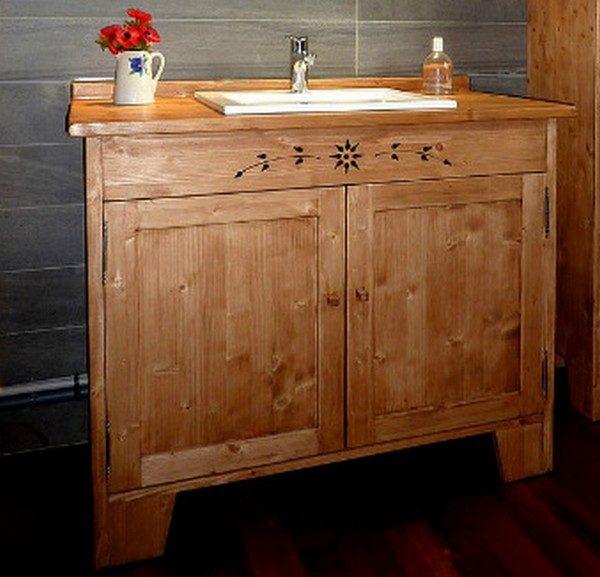 Meuble salle de bains artisanal sur mesure déco chalet montagne