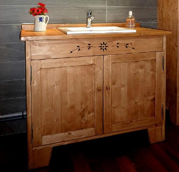 Meuble salle de bains artisanal sur mesure deco chalet montagne