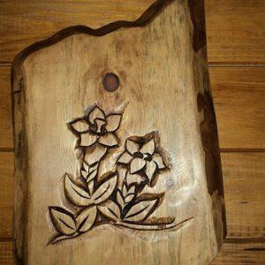 Plaque porte fleur gentiane deco campagne montagne