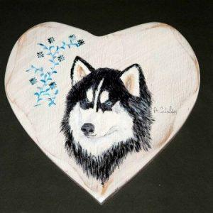 Tableau peinture artisanale sur bois husky