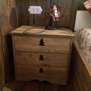 Chevet artisanal aspect vieux bois déco chalet
