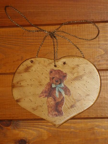 Coeur bois deco chalet montagne wooden home accessoiries scandinave - Coeur nounours ...
