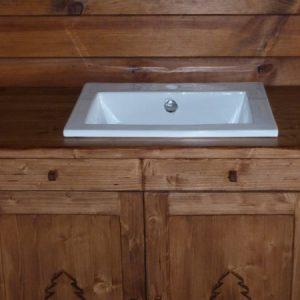 Meuble artisanal sur mesure salle de bains déco chalet montagne