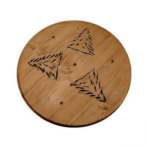 Rosace artisanale en bois déco chalet montagne
