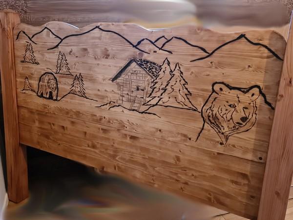 tête de lit ours deco chalet montagne