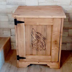 Chevet artisanal modèle loup déco chalet montagne